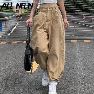 ALLNeon Y2K модные хаки свободные брюки-карго в стиле «хип-хоп» Стиль разрешено Регулируемый с завязкой на талии, длинные штаны в уличном стиле 90-...