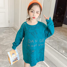 Loose Style Long Sleeve T-shirt Girl 2019 Korean Girls Teenage Clothes Kids Cute Crop Tops for Girls 4 5 7 9 10 11 12 13 Years недорого