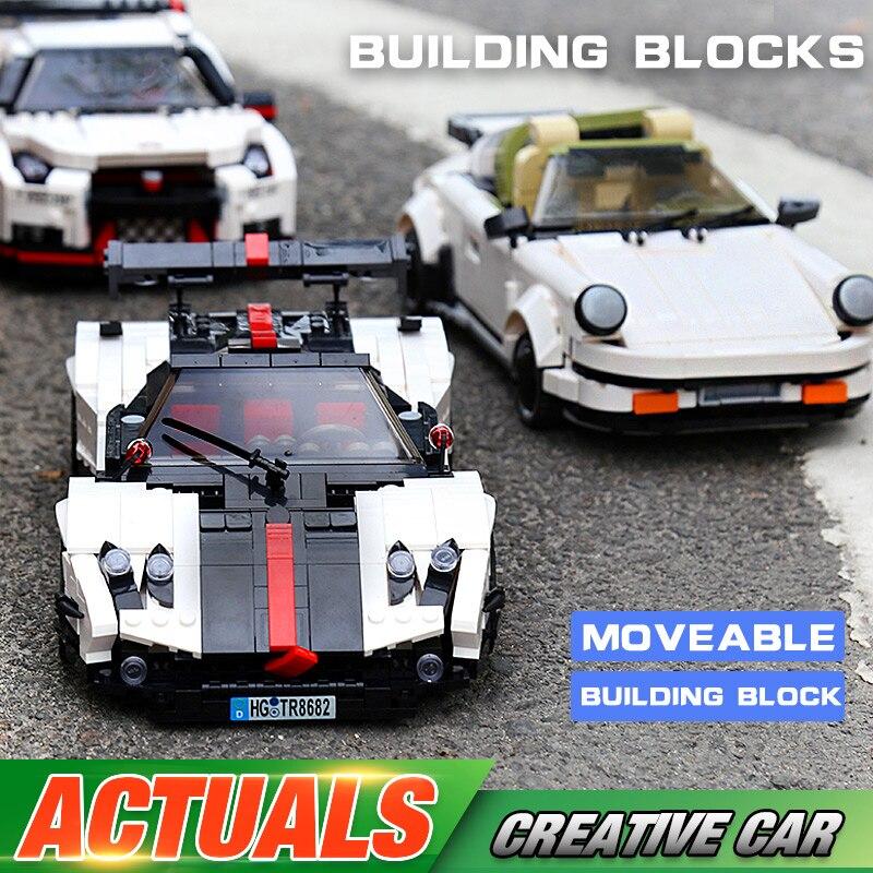 Yeshin Moc technique voitures jouets 882 pièces le blanc Targa Sport vitesse voiture modèle jouets enfants cadeau de noël blocs de construction briques Kits