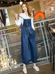 ZSRS Jumpsuits Overalls Rompers Leg-Jeans Loose Vintage Wide Winter Denim Women Female