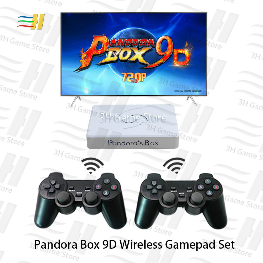 Pandora Box 9D 2500 In 1 Motherboard 2 Players Wired Gamepad And Wireless Gamepad Set Usb Connect Joypad Have 3D Games Tekken