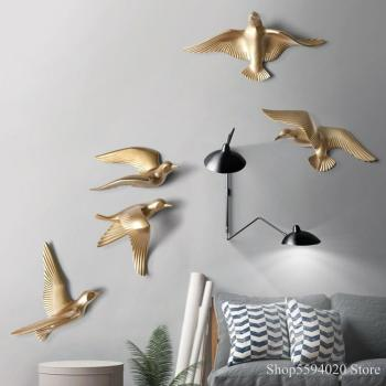 Soft Dress Creative Seagull Bird Wall Decoration Living Room Porch  TV Background Wall Pendant Laser Cube Engraver Home Decor 1