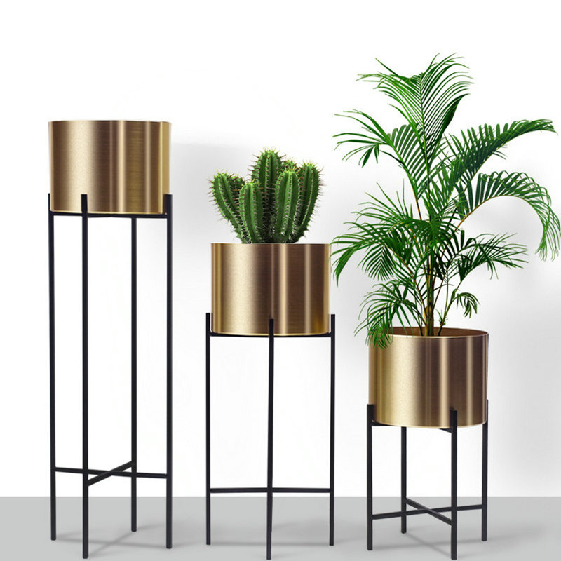 Metal Stainless Steel Wrought Iron Flower Stand Home Decoration Flower Arrangement Potted Floor Stand Flower Pot