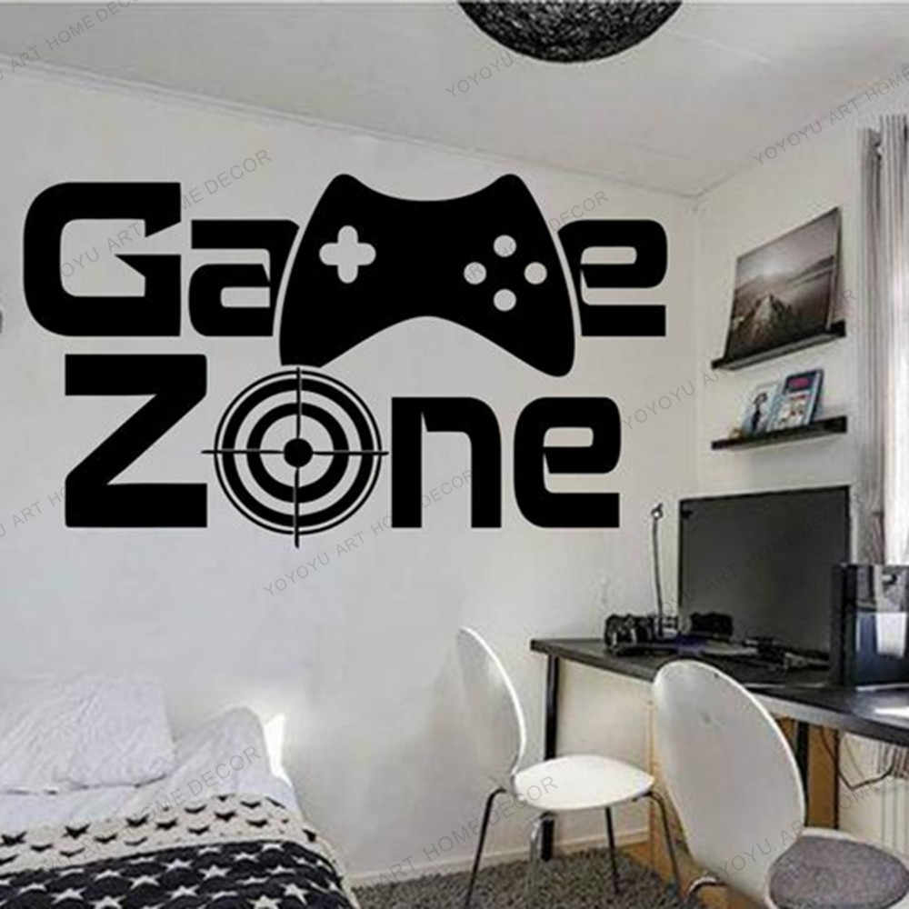 Gamer Wall Stickerl Game Zone Game Controller Video Game Wall Decals Customized For Game Room Vinyl Wall Art Murals Wx203 Wall Stickers Aliexpress