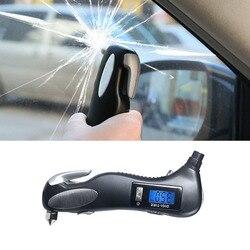 5 w 1 miernik ciśnienia powietrza w oponach cyfrowy samochodów Bike Truck latarka młotek do zbicia szyby do cięcia
