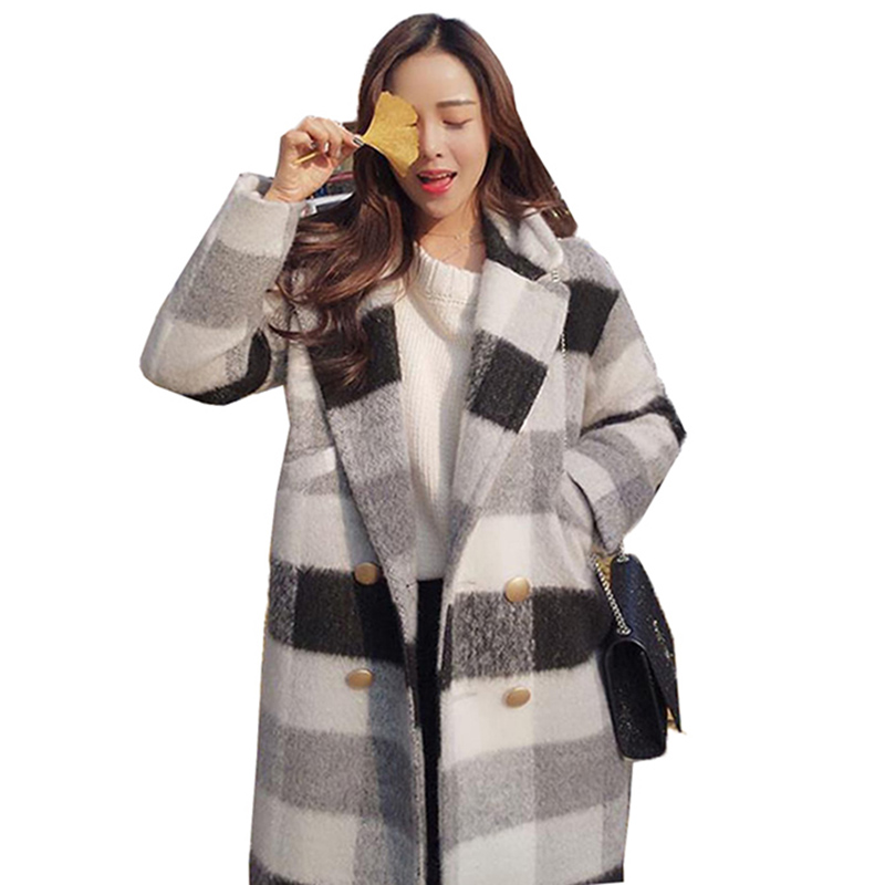 2019 Autumn Winter New Woolen Coat Large Size 3XL Loose Double-Breasted Fashion Slim Jacke Women's Plaid Windbreaker Jacket A51