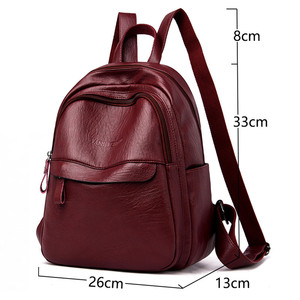 Image 2 - 2019 Female Leather Backpacks High Quality Ladies Bagpack Luxury Designer Large Capacity Casual Daypack Girl Mochilas Sac A Dos