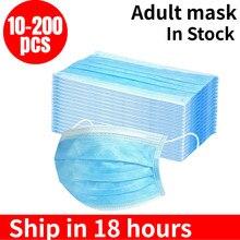 Em estoque! 10-200PCS Descartável Boca Máscaras Anti Poluição Poeira Boca Caps 3-Camada Meltblown Pano Respiração Máscara de Higiene