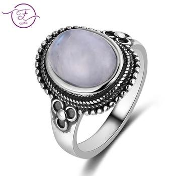 Anillo de plata 100% 925 para mujer, piedra lunar Natural de 8x10MM, pequeño crisantemo Vintage, anillo de compromiso, regalo de boda, venta al por mayor