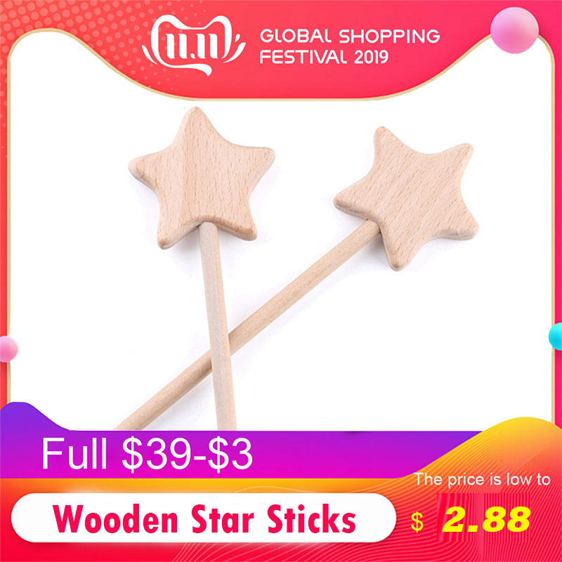 2PC Beech Wooden Star Toy Custom Logo Diy Baby Magic Wands Toys Five-pointed Star Rod Waldorf Rodent Toy Play Gym Moon Heart For