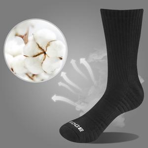 Image 2 - YUEDGE Men Comfortabl Breathable Cotton Cushion Black Crew Athletic Training Trekking Hiking Sports Socks 6 Pairs 38 47 EU