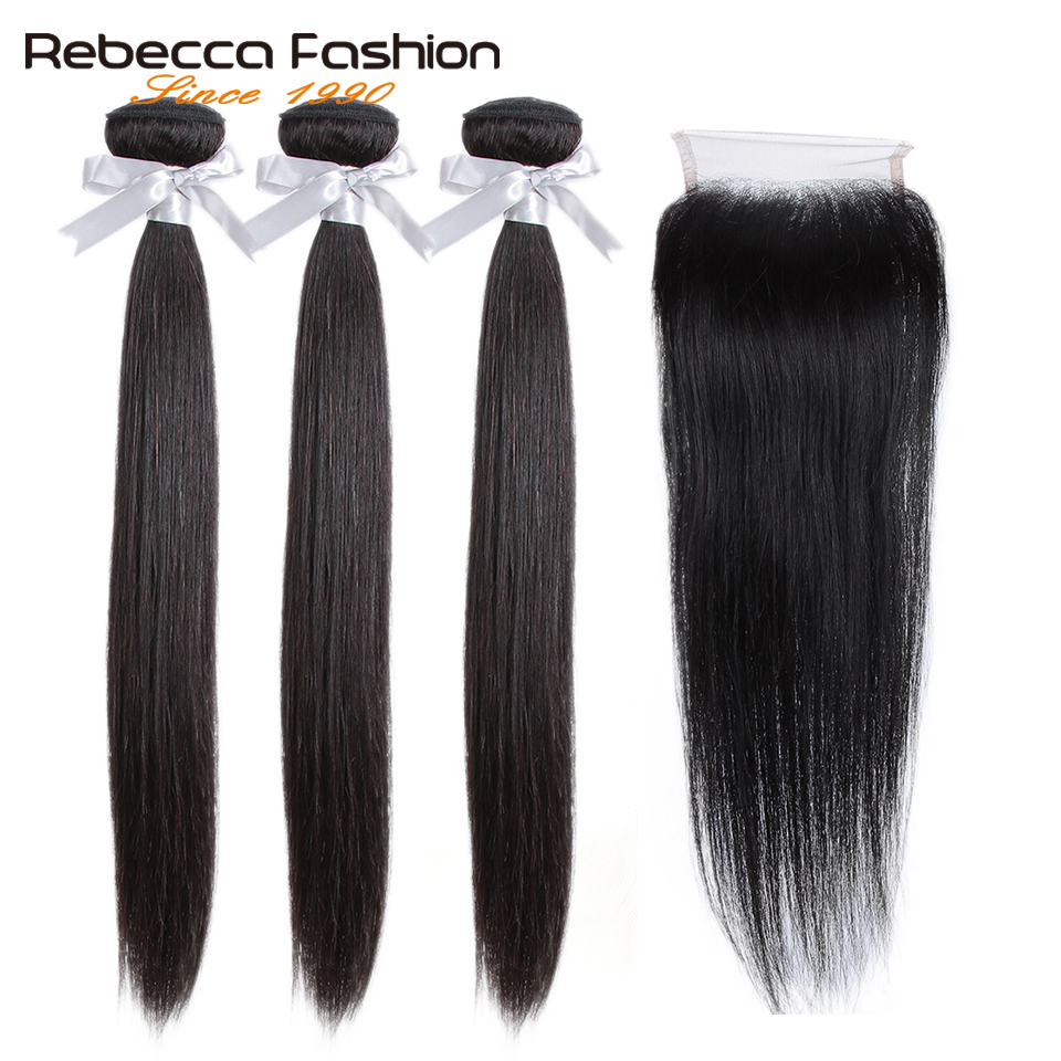 H29e21d607aa74f708b31b42f006890f87 Rebecca Human Hair Bundles With Closure 3 Bundles With Closure Remy Hair Extension Peruvian Straight Hair Bundles With Closure