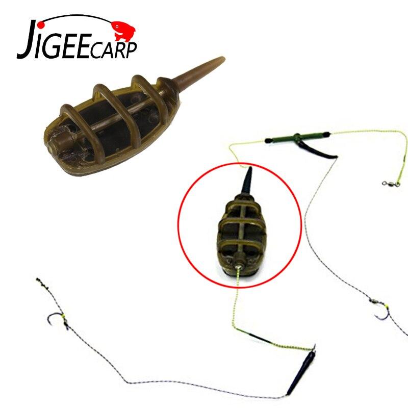 JIGEECARP 1/2pc Carp Coarse Inline Method Feeder For Carp Fishing Feeder Lead Sinker Pesca Bait Thrower 15-40g Fishing Tools