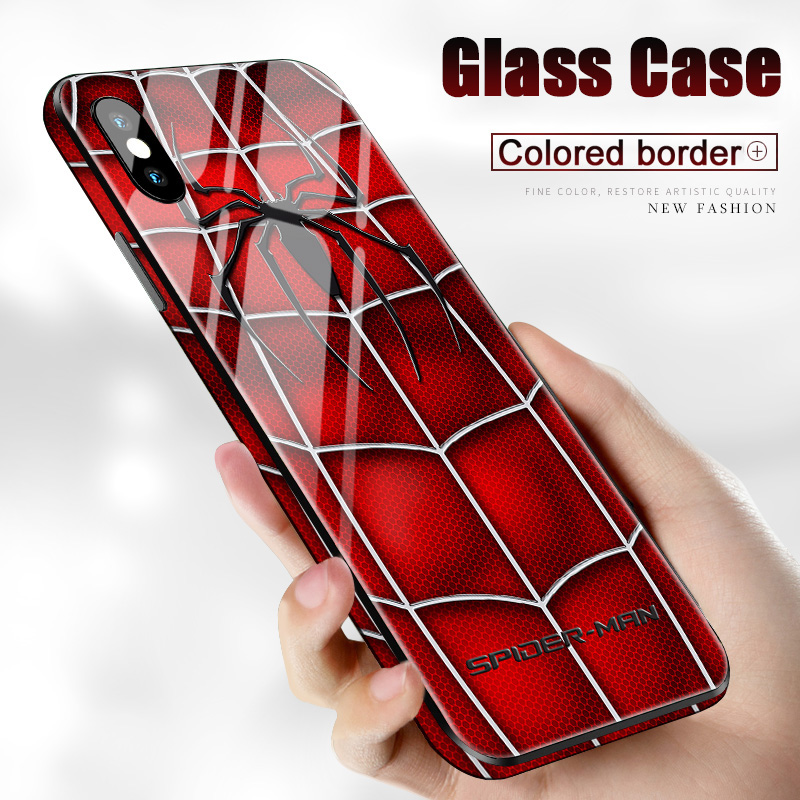 Marvel Batman Tempered Glass Case for iPhone 11 Pro XR XS MAX 8 7 6 6S Plus 7Plus 8Plus Coque Logo Ironman Silicone Phone Cover image