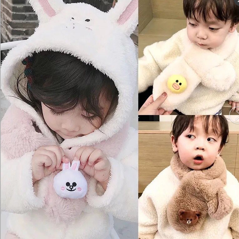 (Various Combination) Autumn And Winter New Style Imitation Rabbit Fur Korean-style Versatile Fashion Baby Scarf Thick Warming S