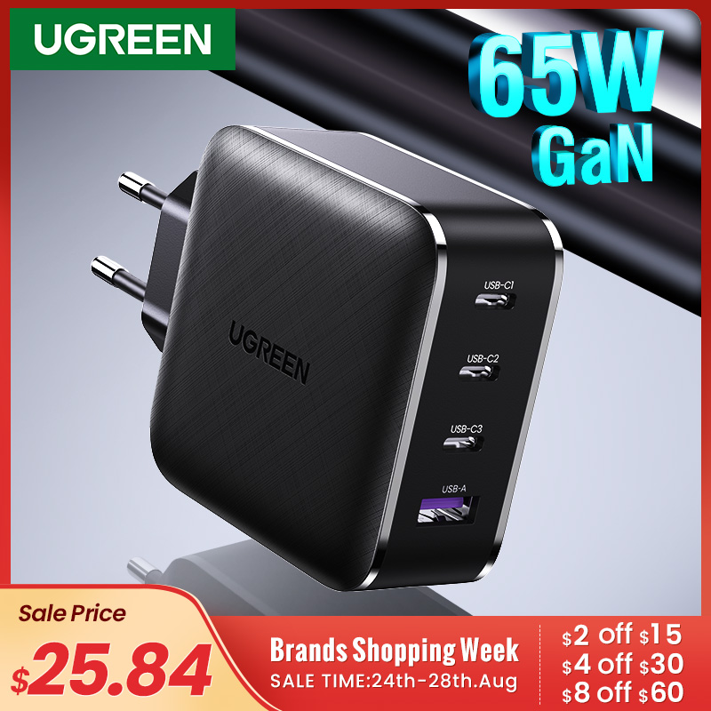 Ugreen 65W GaN Charger Quick Charge 4 0 3 0 Type C PD USB Charger with