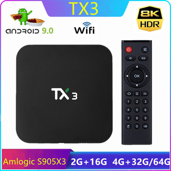 Tanix TX3 Smart TV BOX Android 9.0 Amlogic S905X3 8K 4GB RAM 32/64 GB ROM 2.4G/5GHz BT Dual Wifi H.265 TVBOX Media Player
