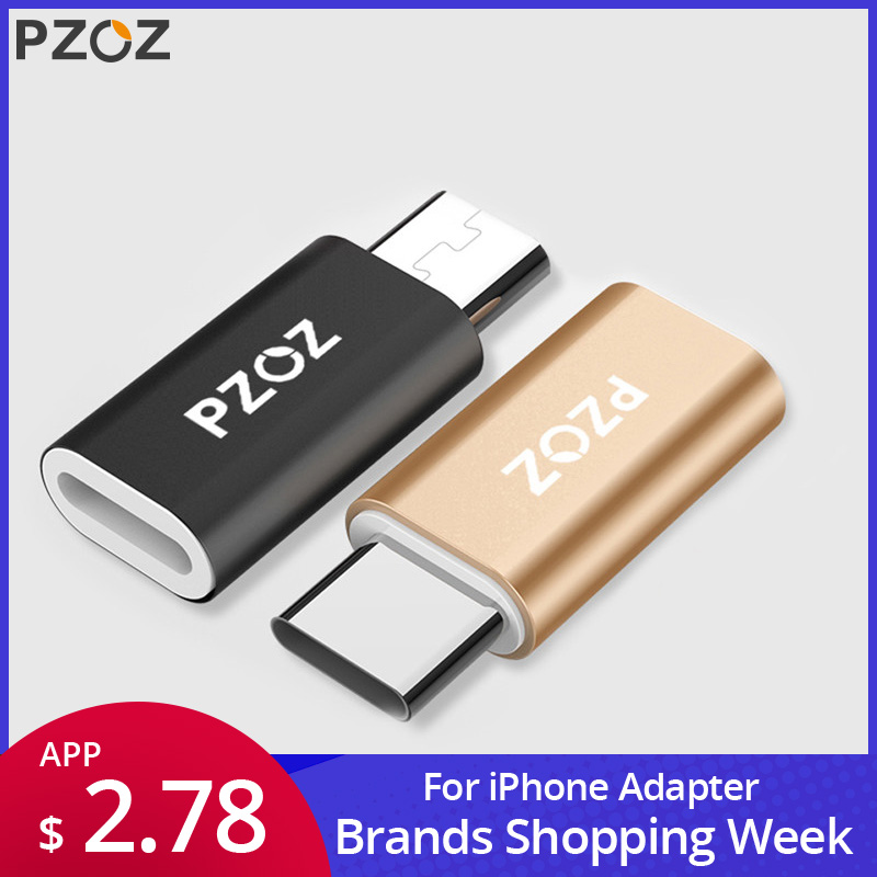 PZOZ Converter-Charging Type-C-Adapter Micro-Usb-Cable iPhone Xiaomi Redmi 6-X-Oneplus