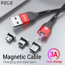 PZOZ Cabo Micro USB C Tipo de Carregamento Rápido Adaptador Microusb Magnético-C Ímã Tipo C Cabo do Carregador Para o iphone samsung Xiaomi magnético C Tipo de imán C Cable de cargador arga rápida Microusb Adaptador