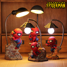 Мстители Alliance 4 фигурки Человек-паук лампа скандинавский светодиодный ночник из смолы для детской спальни светодиодный ночник для мальчика подарок на день рождения