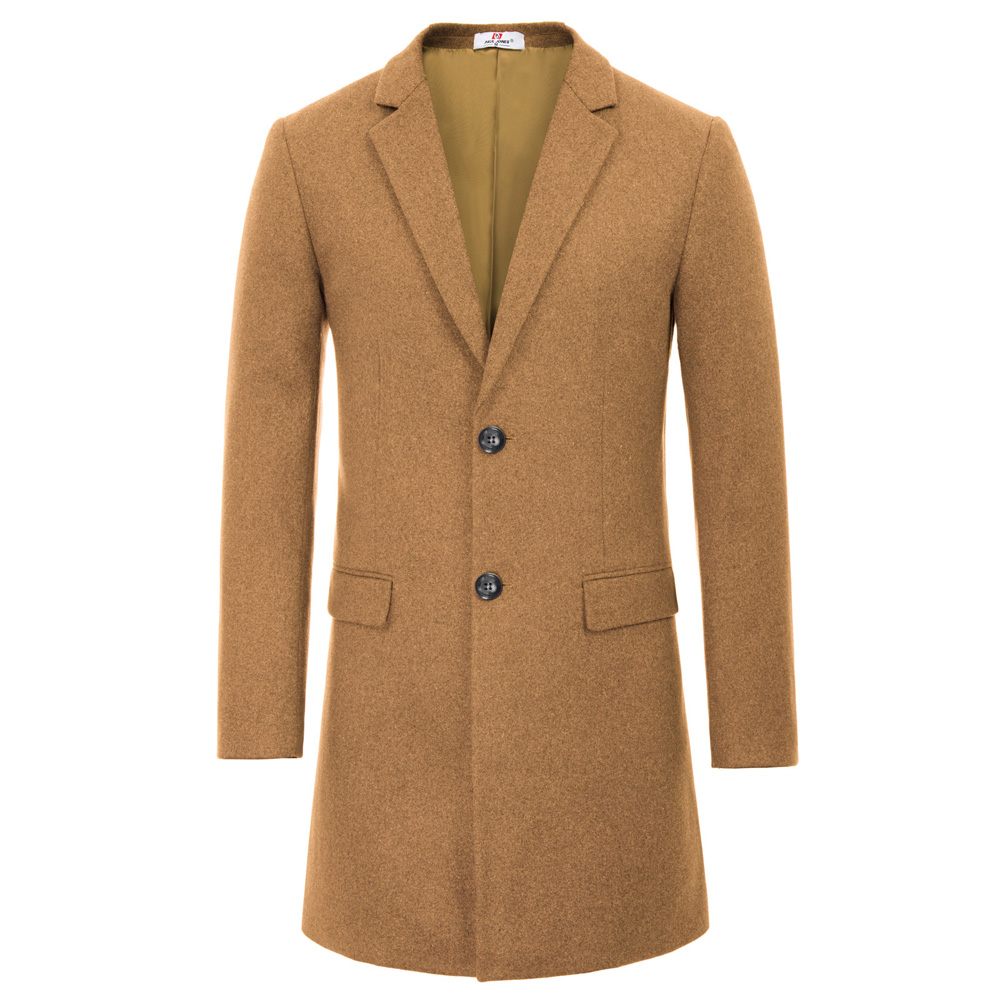 Coat Vintage Blends Solid-Pockets Wool Male Single-Breasted Long Winter Fall Warm Stylish