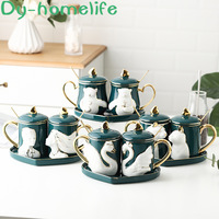 Ceramic Couple Mug Pair of Gift Boxes with Green Three dimensional Relief Animal Couple Cup with Tray Home Wedding Gift