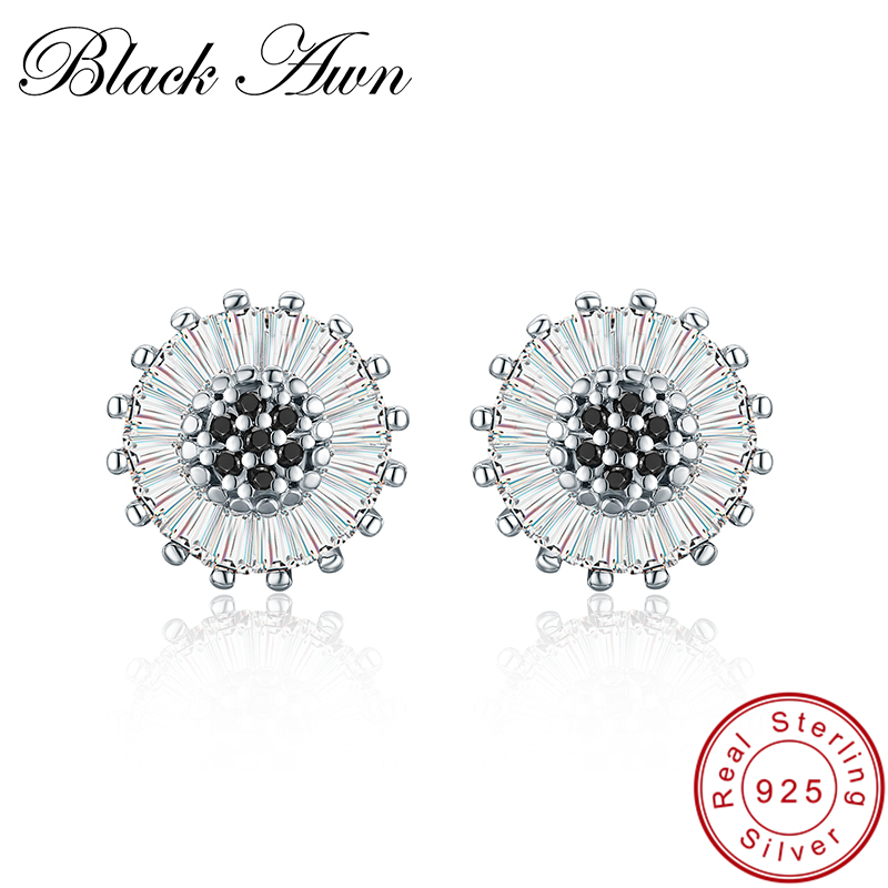 [BLACK AWN] 925 Sterling Silver Jewelry Black Spinel Engagement Stud Earrings For Women Classic Flower Bijoux I013