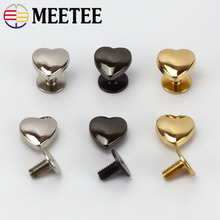 20/50pcs 1x1cm Heart Rivet For Bags Hardware Handbag Decorative Studs Button Nail Metal Buckles Snap Hook Leather Craft
