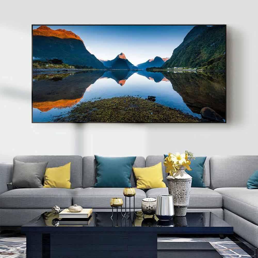 Пейзаж масляная живопись горы лес синий озеро вода искусство холст живопись гостиная коридор офис украшение дома роспись