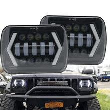 5x7 7x6 polegada retangular selado feixe led farol com drl para jeep wrangler yj cherokee xj h6014 h6052 h6054