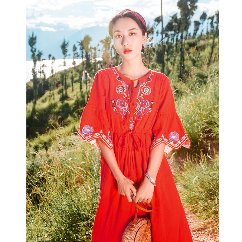 Floral Print Boho Beach Dress Ruffle Short Sleeve Travel Clothes Women's Summer Vacation Ethnic Style Embroidery Dress