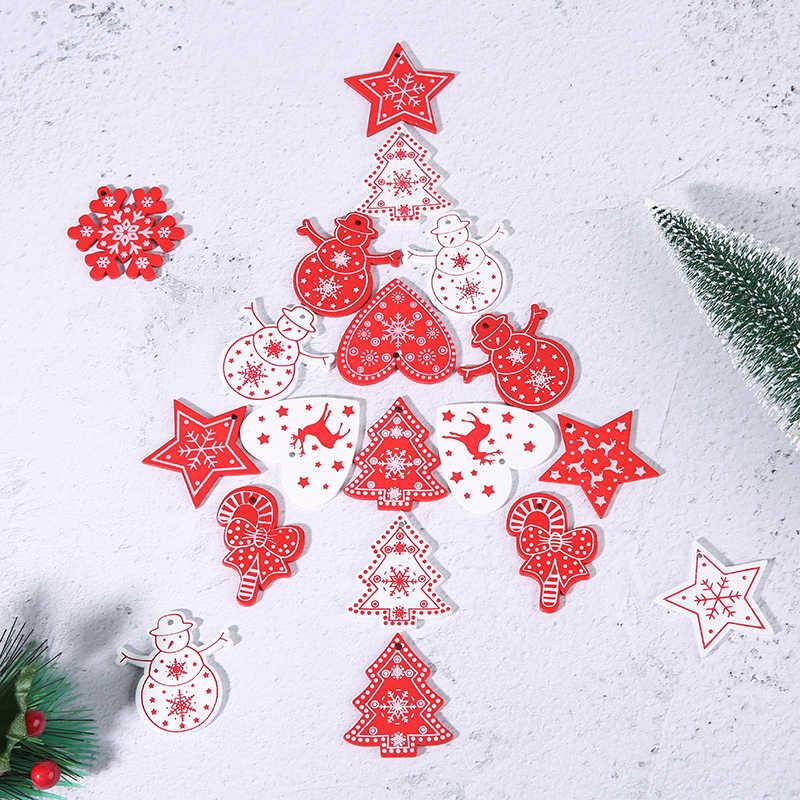 10PCs 5 centimetri di Legno Ornamenti Di Natale Per Bambini Giocattoli Per Chirstmas Albero di natale Appeso Pendenti Con Gemme E Perle di Natale Decorazione Per La Casa Del Partito Nuovo anno Noel