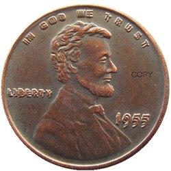 США 1955 двойная пшеничная Пенни один % медная КОПИЯ монета Тип 2