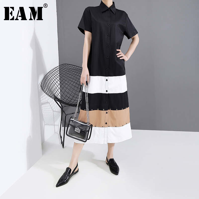 [EAM] Women Contrast Color Split Long Shirt Dress New Lapel Short Sleeve Loose Fit Fashion Tide Spring Summer 2020 1T651