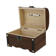 New Wooden Piggy Bank Safe Money Box Savings with Lock Wood Carving Handmade Legendary Treasure Chest Child piggy bank