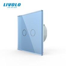 Livolo duvar işık dokunmatik anahtarı ile kristal cam Panel, renkli anahtar, led gösterge ışığı, evrensel duvar anahtarları