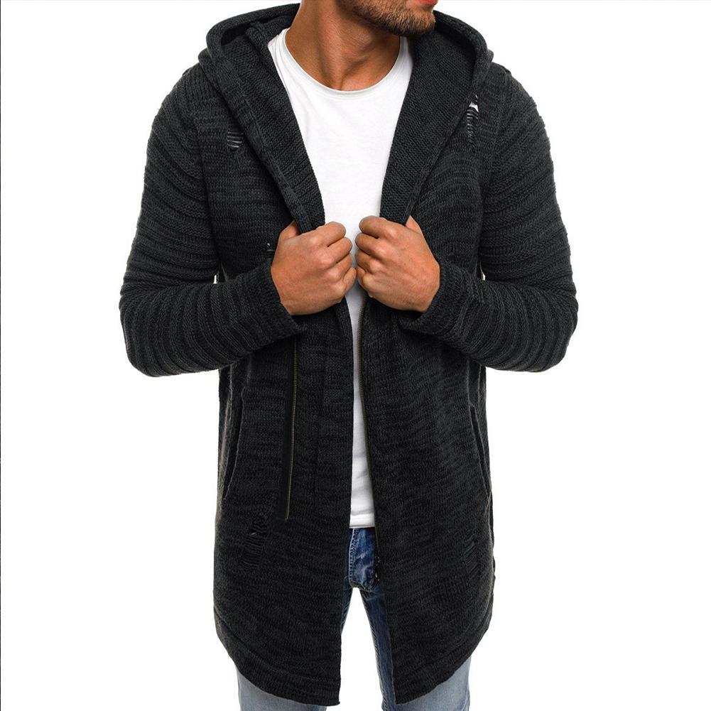 MISSKY 2019 New Autumn Winter Men Sweater Hoodie Zipper Cardigan Knitting Sweater Warm Casual Middle Long Coat Male Tops