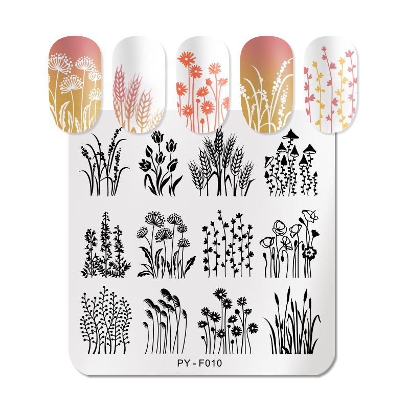 PICT YOU Flower Leaves Plants Nail Stamping Plates Christmas Festival New Year Stamping Plate Stainless Steel Stencil Tools