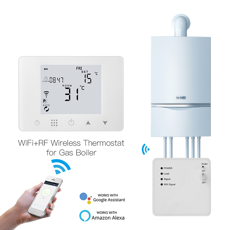 WIFI+RF433 Smart Thermostat Wall-Hung Gas Boiler Water Electric Underfloor Heating Temperature Controller Work Alexa Google Home