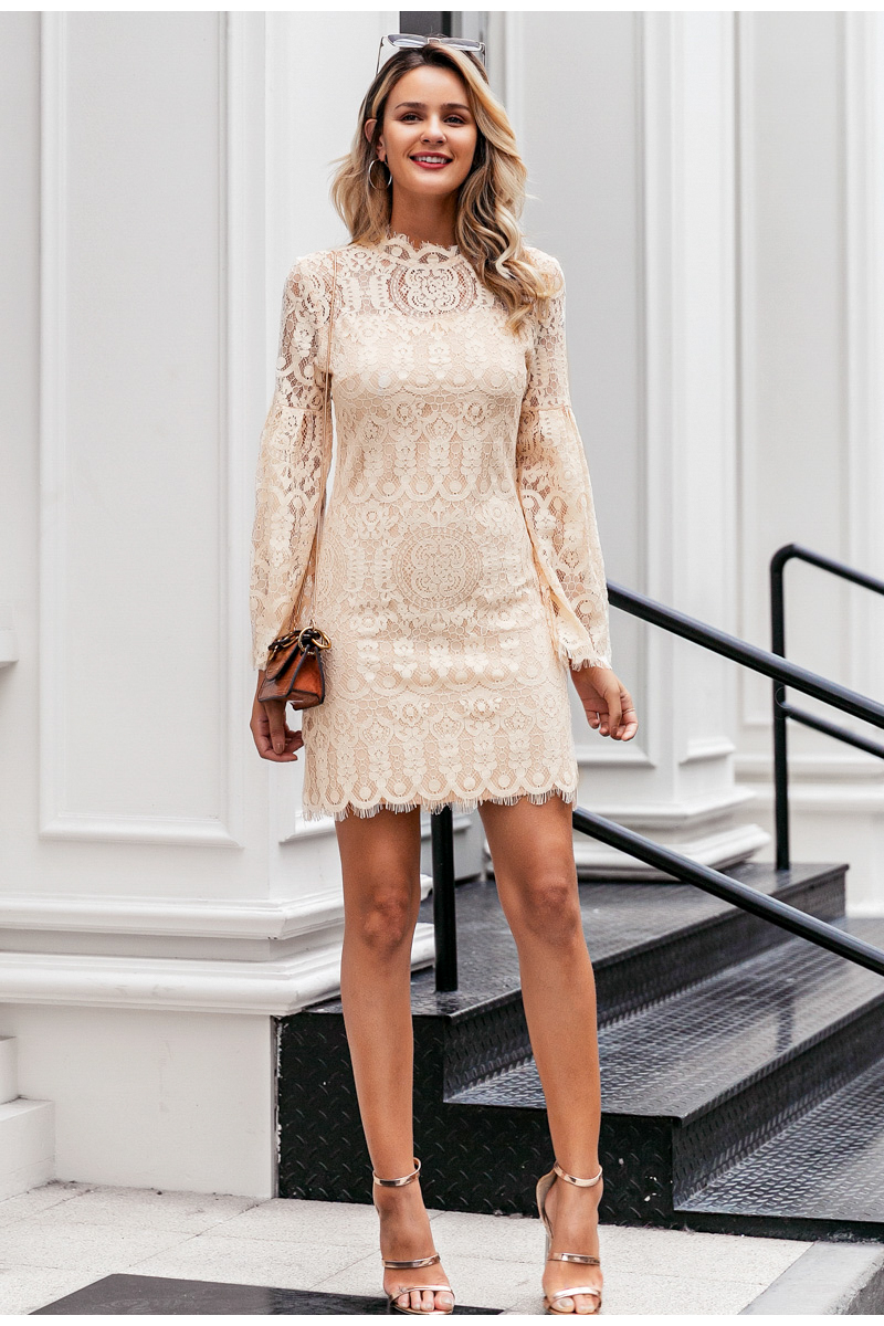 Elegant Flare Sleeve Lace Embroidery Ruffled Office Dress