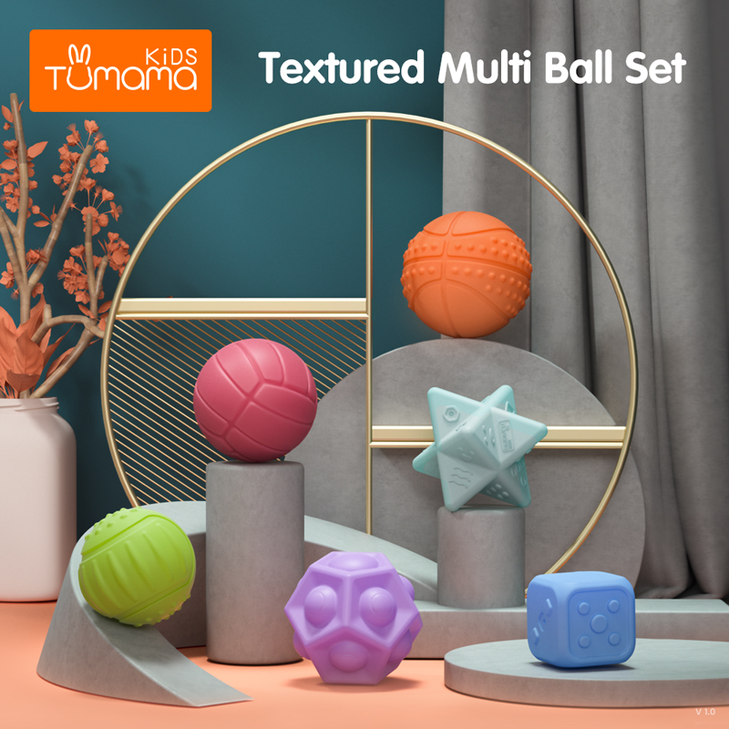 Tumama 6-12PCS Baby Toys Rubber Textured Touch Ball Baby Touch Hand Training Massage Ball Tactile Senses Toy
