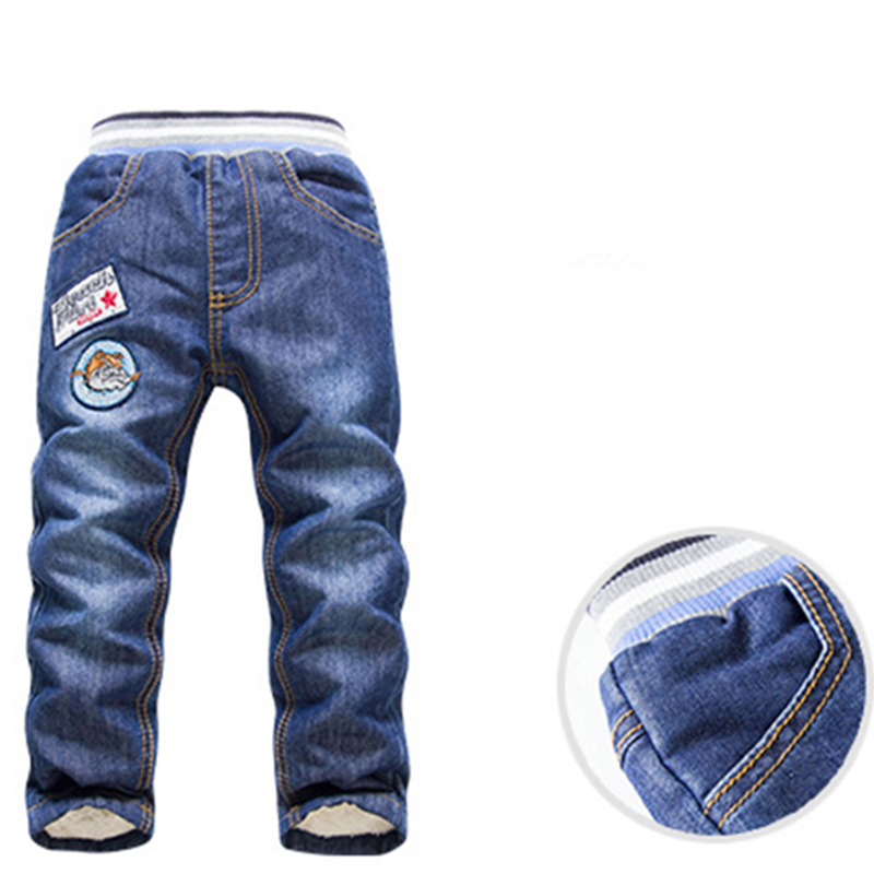 Boy Jeans Pants Long-Trousers Baby Winter Children Denim Warm Washed Wool Add 2-7Y