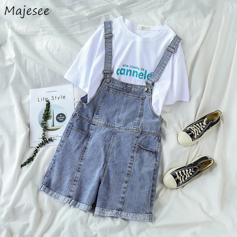 Rompers Women Denim Blue All-match Causal Student Kawaii Ulzzang Korean Style Girls Chic Fashion Simple Pockets Playsuit Womens