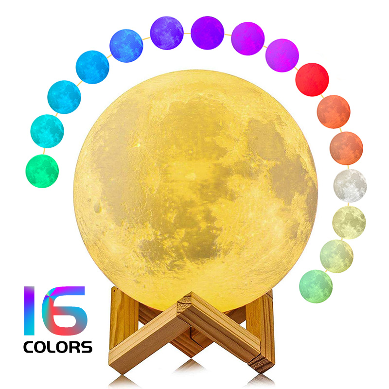 Moon Lamp 3D Printing Children's Night Light 16/2 Color Change Touch and Remote Control Galaxy LED Moon Light as Gifts