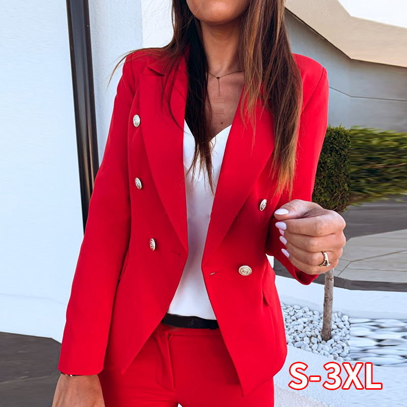 Women Long Sleeve Formal Blazer Tops Female Cardigan Notched Slim Fit Suit  Spring New Outerwear Coats With Button Red Blazers