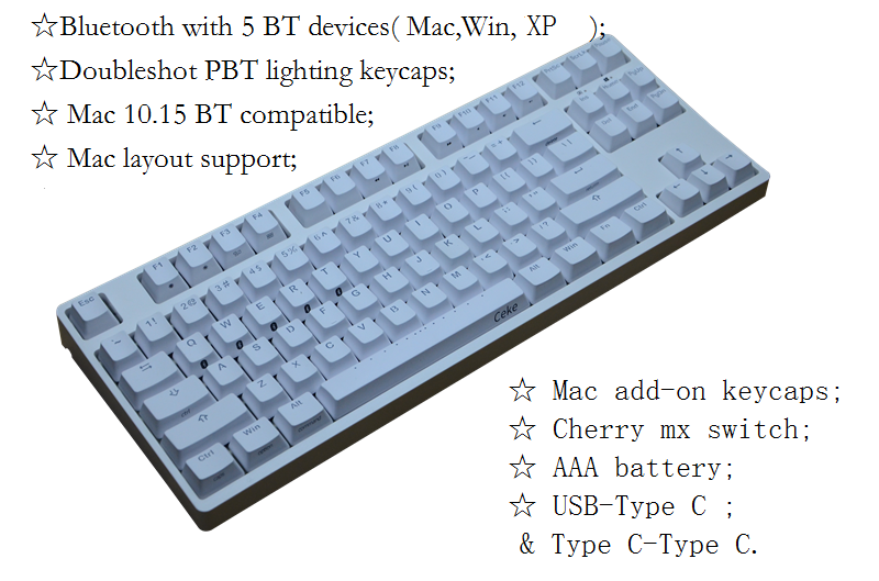 Mac Bluetooth Keyboard 87 Mechanical Keyboard TKL Wireless Keyboards Cherry Switch Game Keyboard