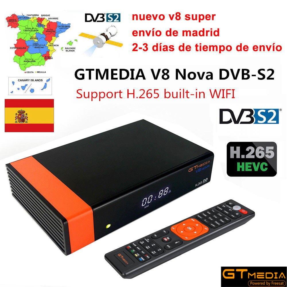 GT Media V8 Nova DVB-S2 récepteur Satellite Freesat V8 Super H.265 WIFI + 1.5 année 18 mois Europe espagne PT DE PO CCcam décodeur TV