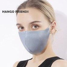 Hango máscara de seda de amoreira com filtro de bolso máscara protetora reutilizável lavável tecido máscara de pano feminino impresso tampões de boca