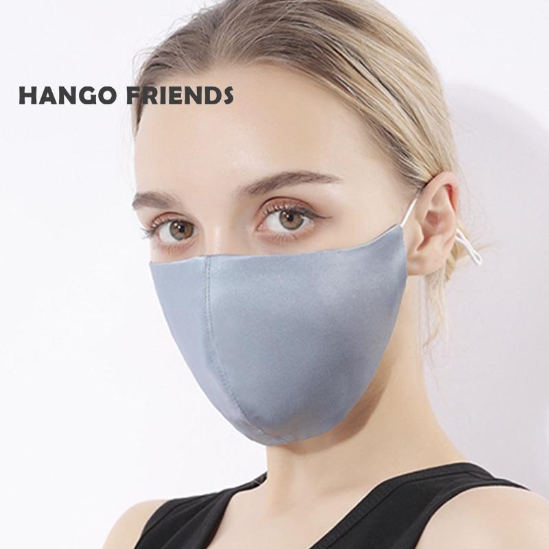 Hango máscara de seda de amoreira com filtro de bolso máscara protetora reutilizável lavável tecido máscara de pano feminino impresso tampões de boca|Máscaras das mulheres|   -