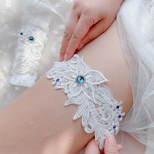 Dress Garter Wedding-Accessories Lace Blue Thigh Ring Bridesmaid Elastic Gemstone Cosplay